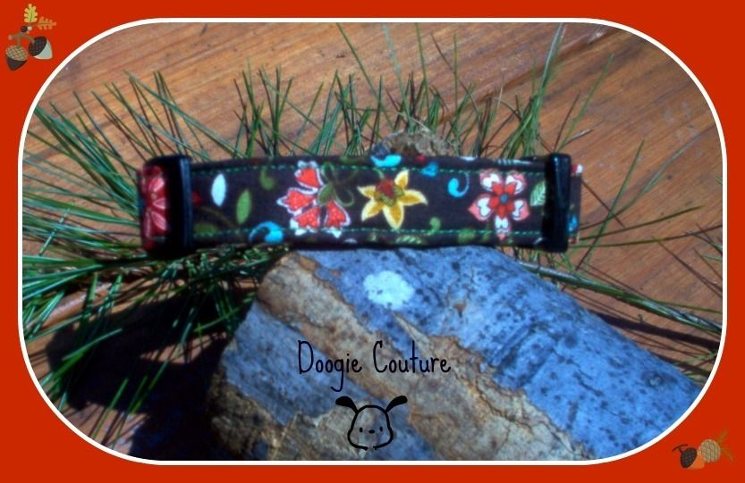 Doogie Couture Fall Flowers Dog Collar Size XS L