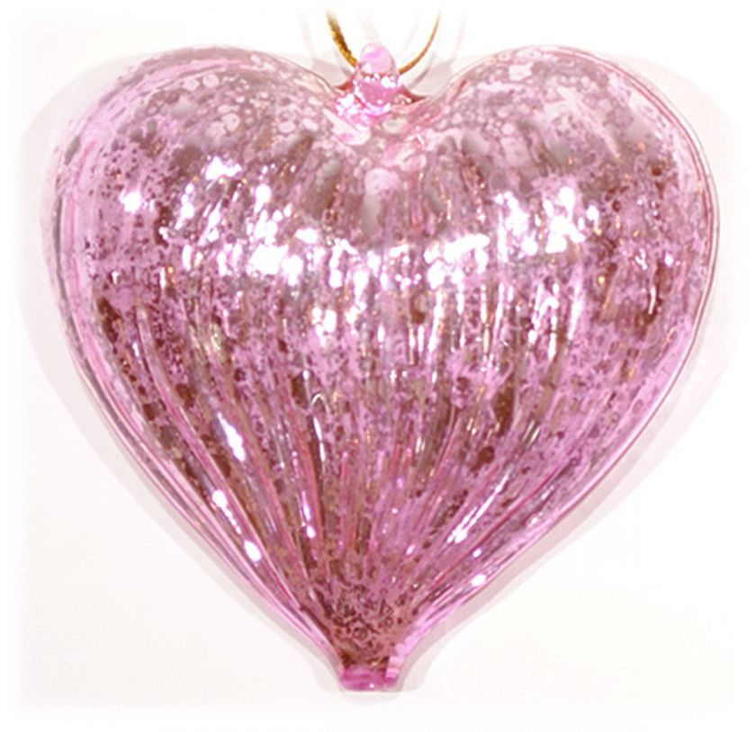 Pink Blown Glass Heart Ornament Valentines Day Love Home Decor 3 NEW