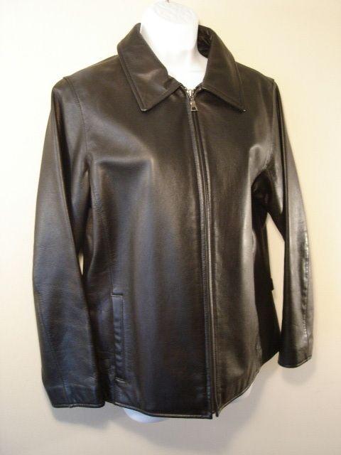 EDDIE BAUER Womens Black Leather Motorcycle Jacket M
