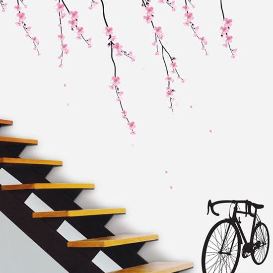 PS 58093(Cherry Blossom & Bicycle) Mural Decor Sticker