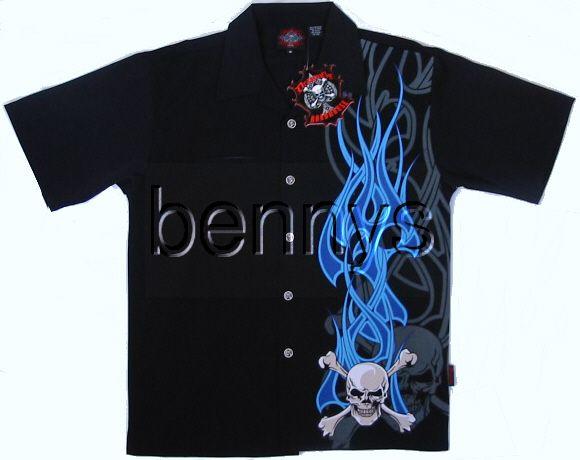 NEW Flaming Skull biker shirt, Dragonfly, XXL
