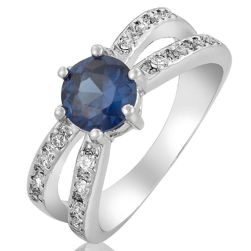 SALE Gift Blue Sapphire White Gold GP Ring Lady Fashion Jewelry 6/M