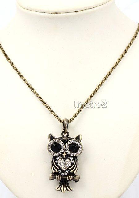 Cute big eyes owl night bird swarovski crystal vintage bronze chain