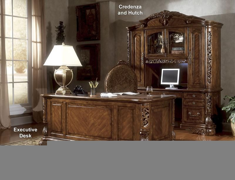 Executive Desk Home Office Furniture Antique Carved Wood