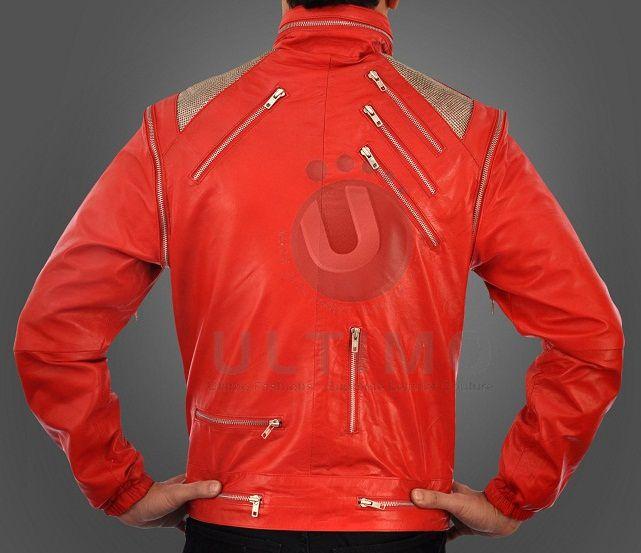 Michael Jackson Beat IT RED Leather Jacket Metal Mesh